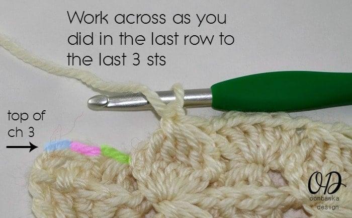 work across to the last 3 sts R2 Part 2 Wonder Crochet Blanket CAL