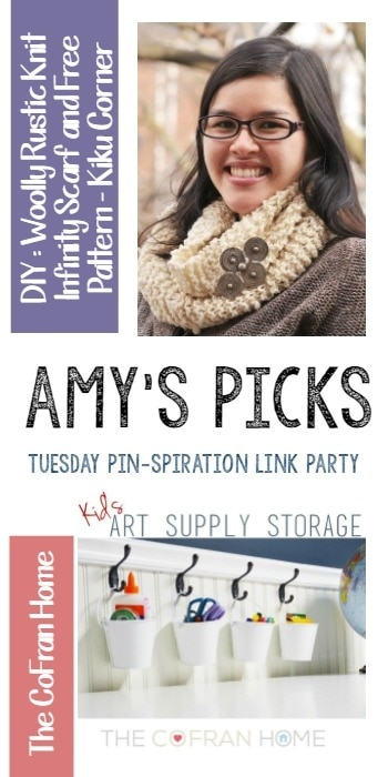 Featuring DIY : Woolly Rustic Knit Infinity Scarf and Free Pattern - Kiku Corner and (bottom) Kid's Art Supply Storage - The CoFran Home.