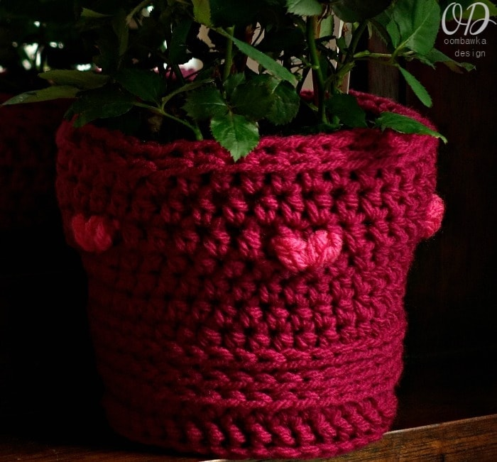 Valentine's Day Flower Pot Cover Free Pattern