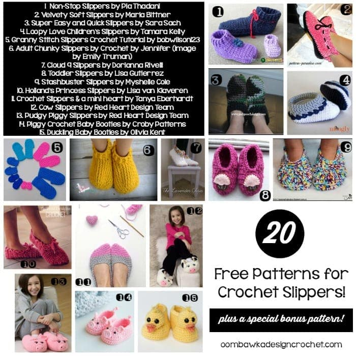 20 Free Patterns for Crochet Slippers Roundup by Oombawka Design