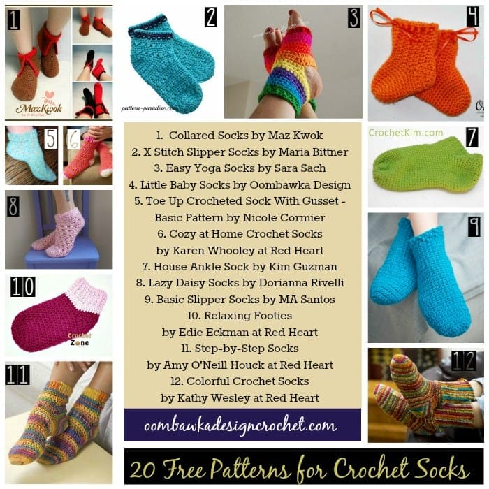 20 More Free Patterns for Crochet Socks • Oombawka Design Crochet