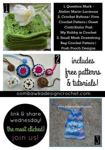 Featuring afghan squares, crochet buttons and a crocheted drawstring bag