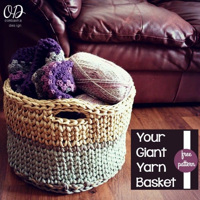 Your Giant Yarn Basket Free Crochet Pattern Oombawka Design Crochet