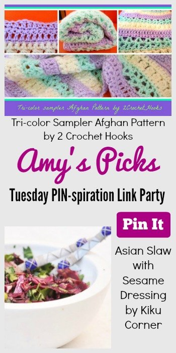 Amy's Picks   Tri-color Sampler Afghan Pattern/Asian Slaw Sesame Dressing  Tuesday PIN-spiration Link Party www.thestitchinmommy.com