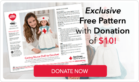 Donation Pattern #StitchAHug with Red Heart and Red Cross North America