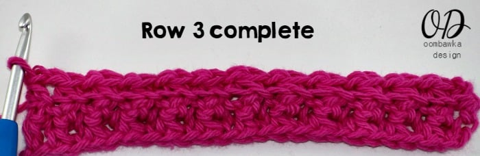 Row 3 Complete Single Crochet Cluster Stitch