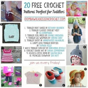 20 Free Crochet Patterns Perfect for Toddlers at oombawkadesigncrochet.com