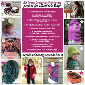 20 Perfect Patterns for Mother's Day. Free Pattern Roundup. Oombawka Design.