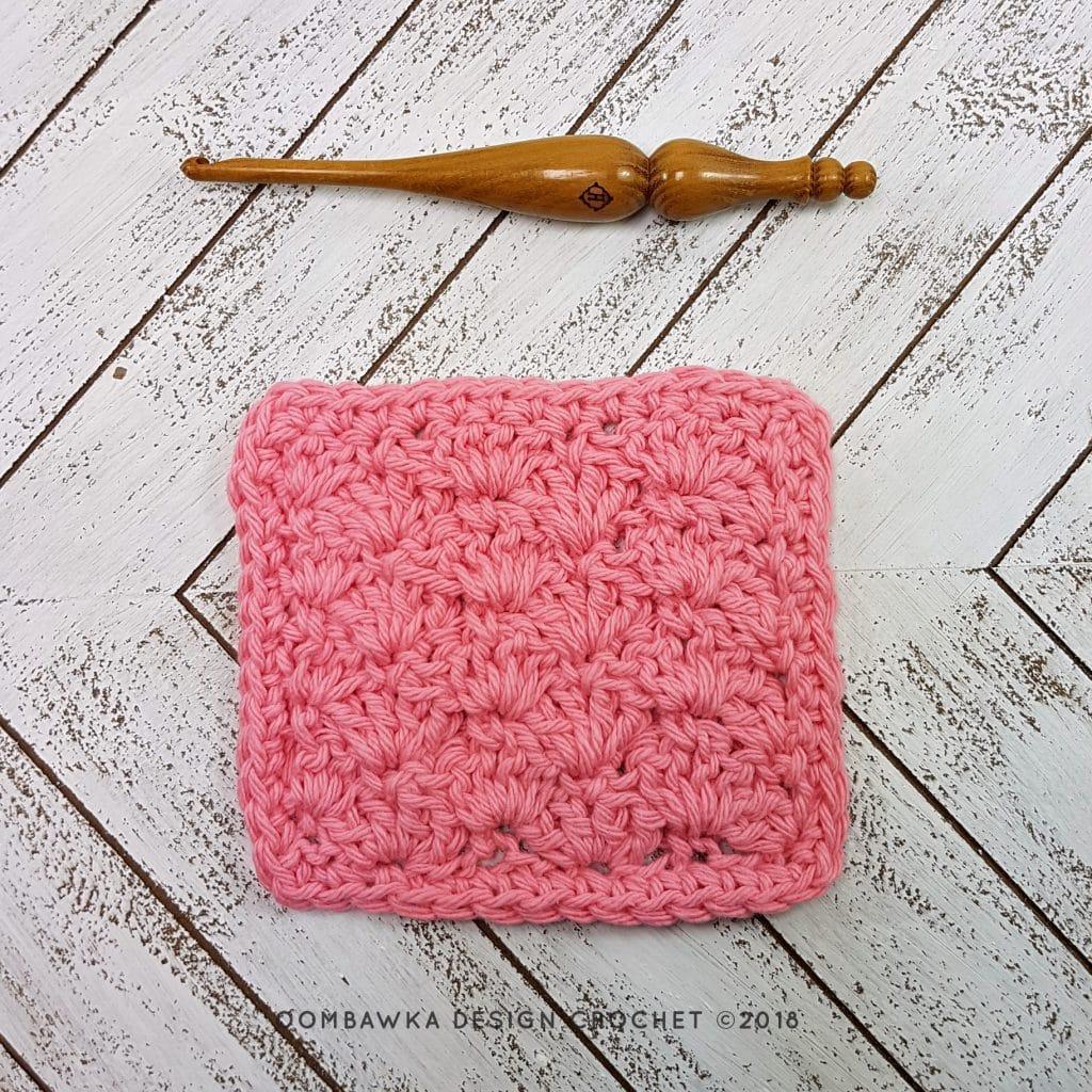 Close Scallops Stitch Dishcloth Oombawka Design Crochet