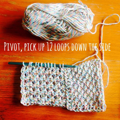 Springtime Pinwheel Dishcloth pivot pick up 12 loops down the side