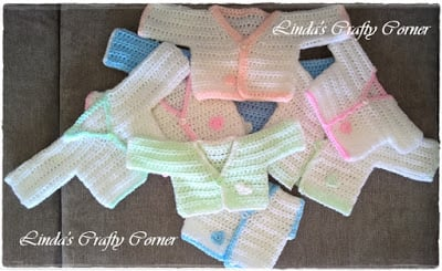 Preemie Crochet Patterns - All In One Preemie Cardi - Linda's Crafty Corner