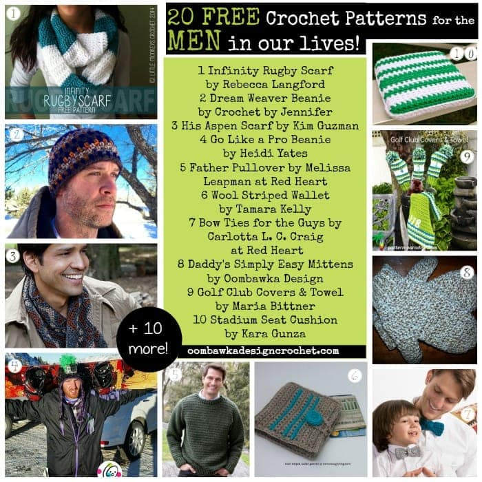 20 Free Patterns for the MEN in our lives Father's Day Ideas - oombawkadesigncrochet