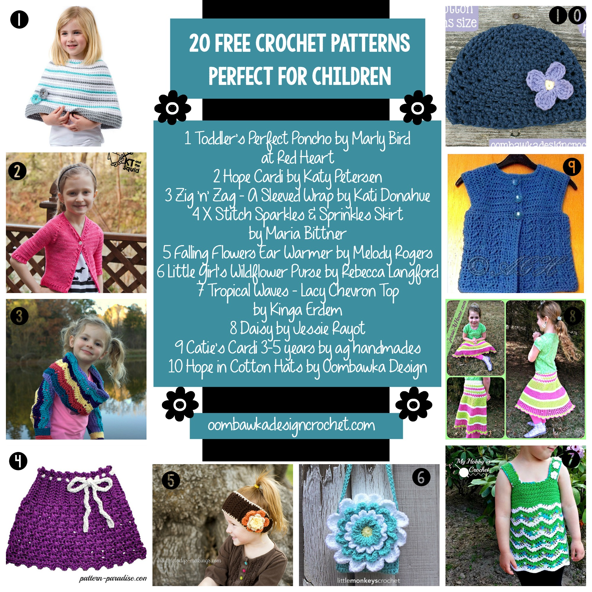 20 Patterns perfect For Children oombawkadesigncrochet.com