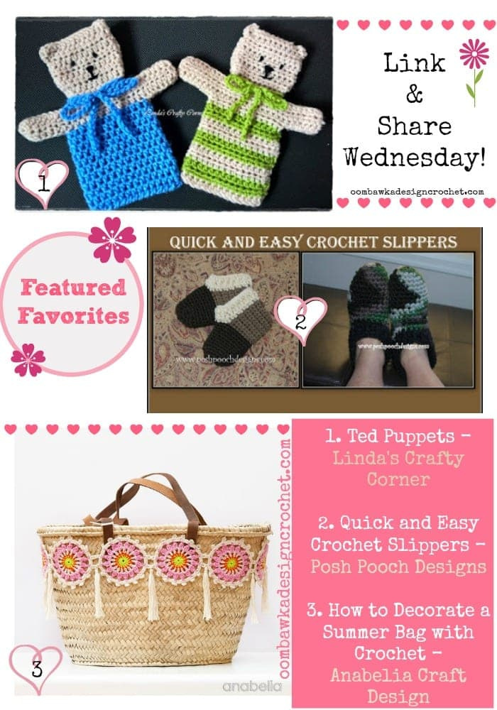 Puppets, Slippers and Customized Bags! Featured Favorites at the Link and Share Wednesday Party at oombawkadesigncrochet.com