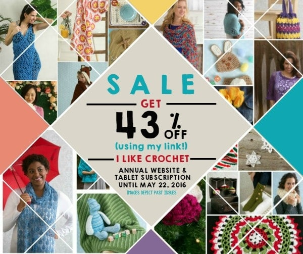 Save 43% on 'I Like Crochet'. Limited Time Offer. Ends May 22, 2016. #SALE #Crochet