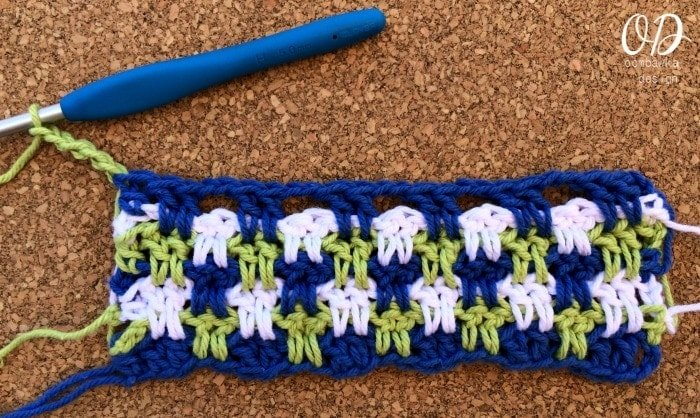 Row 7 Example (repeat of R3) Easy Peasy Blueberry Lime Squeezy Dishcloth