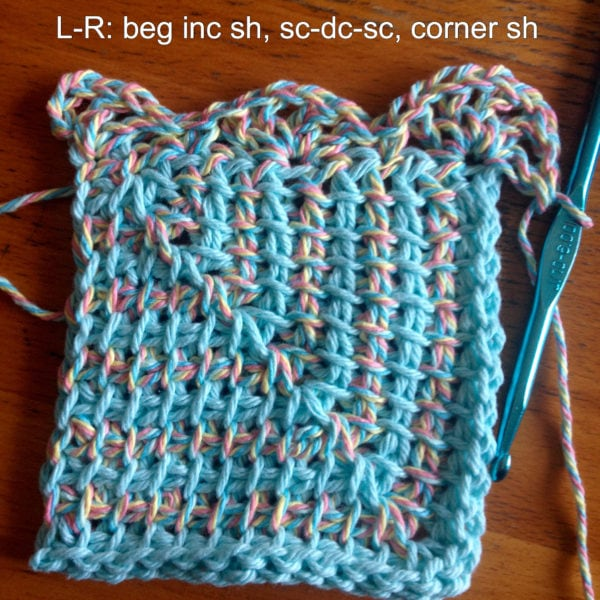 4 Mitred Square Dishcloth Pattern from Nicole of Tunisian Crochet Chick