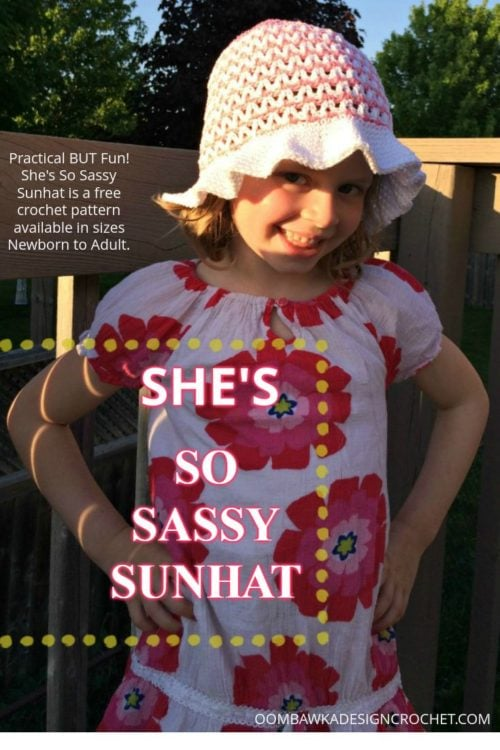 She's SO Sassy Sunhat is a Free Crochet Pattern Perfect for Summer! Get it while it's HOT! Available in sizes Newborn to Adult.