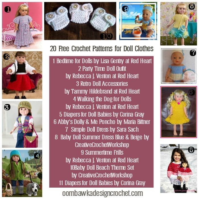 20 Free Crochet Patterns For Doll Clothes Oombawka Design Crochet