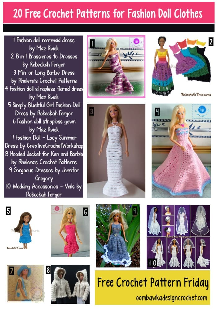 20 Free Patterns For Fashion Doll Clothes Oombawka Design Crochet