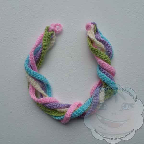 5 Rainbow String Flower Necklace Free Pattern - GCP - CCW - OombawkaDesignCrochet