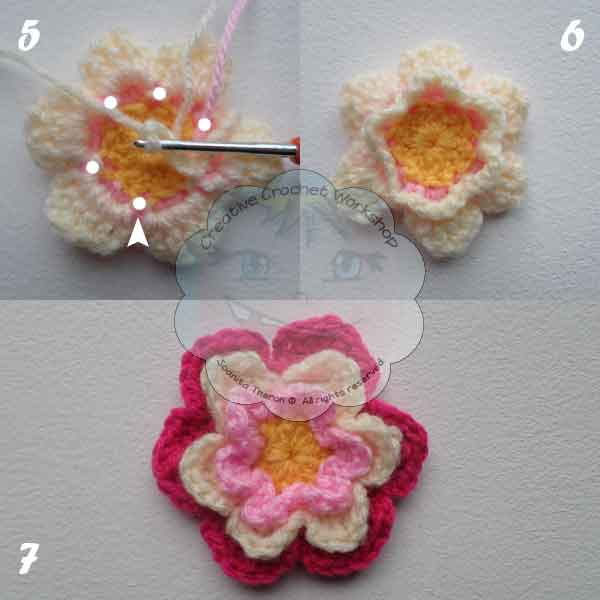 6 Rainbow String Flower Necklace Free Pattern - GCP - CCW - OombawkaDesignCrochet