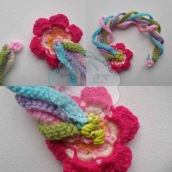 8 Rainbow String Flower Necklace Free Pattern - GCP - CCW - OombawkaDesignCrochet