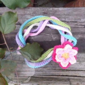 Rainbow String Flower Necklace Free Pattern - GCP - CCW - OombawkaDesignCrochet