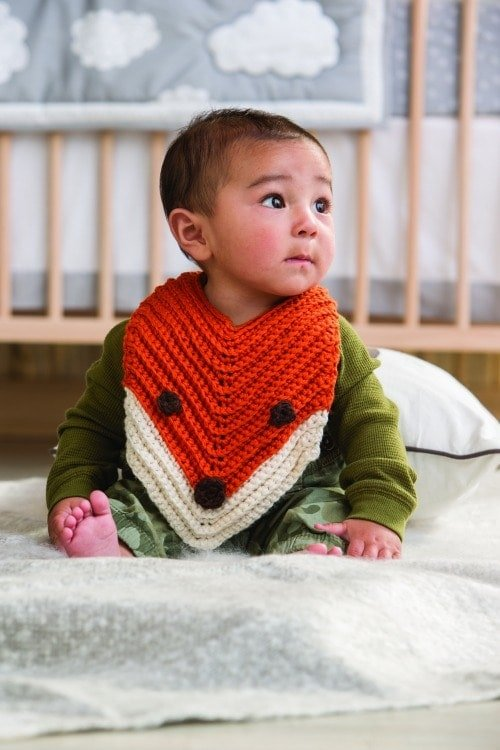 Finley The Fox Bib EXCERPT - 3 Skeins or Less Modern Baby Crochet Book Review Oombawka Design Crochet
