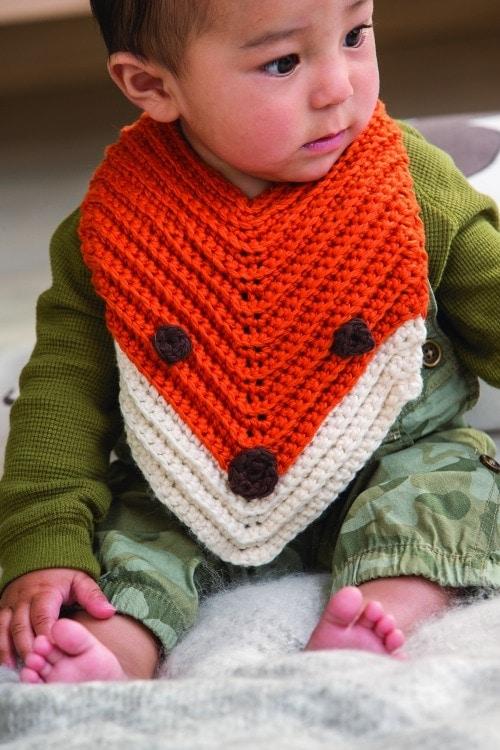 Finley The Fox Bib 2 - Modern Baby Crochet 3 Skeins or Less Book Review Oombawka Design Crochet EXCERPT