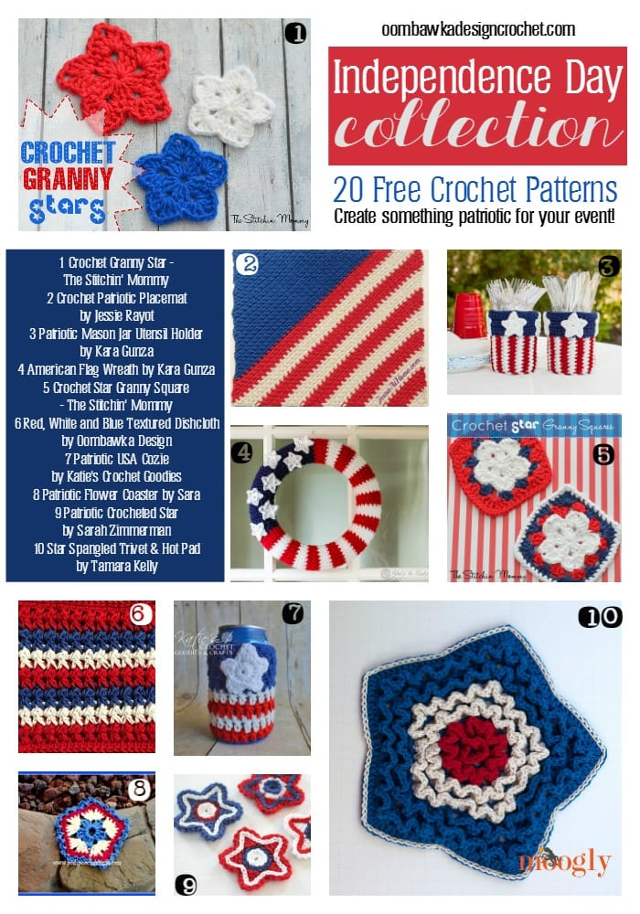Independence Day Collection Free Crochet patterns oombawkadesigncrochet