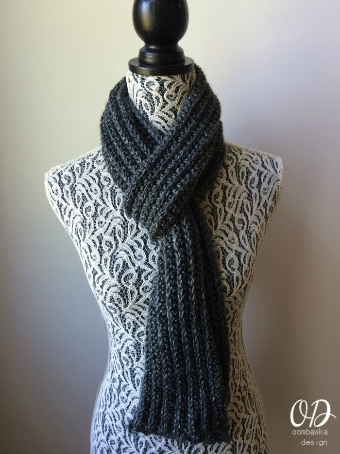 Just For Him Classic Ribbed Scarf Free Pattern