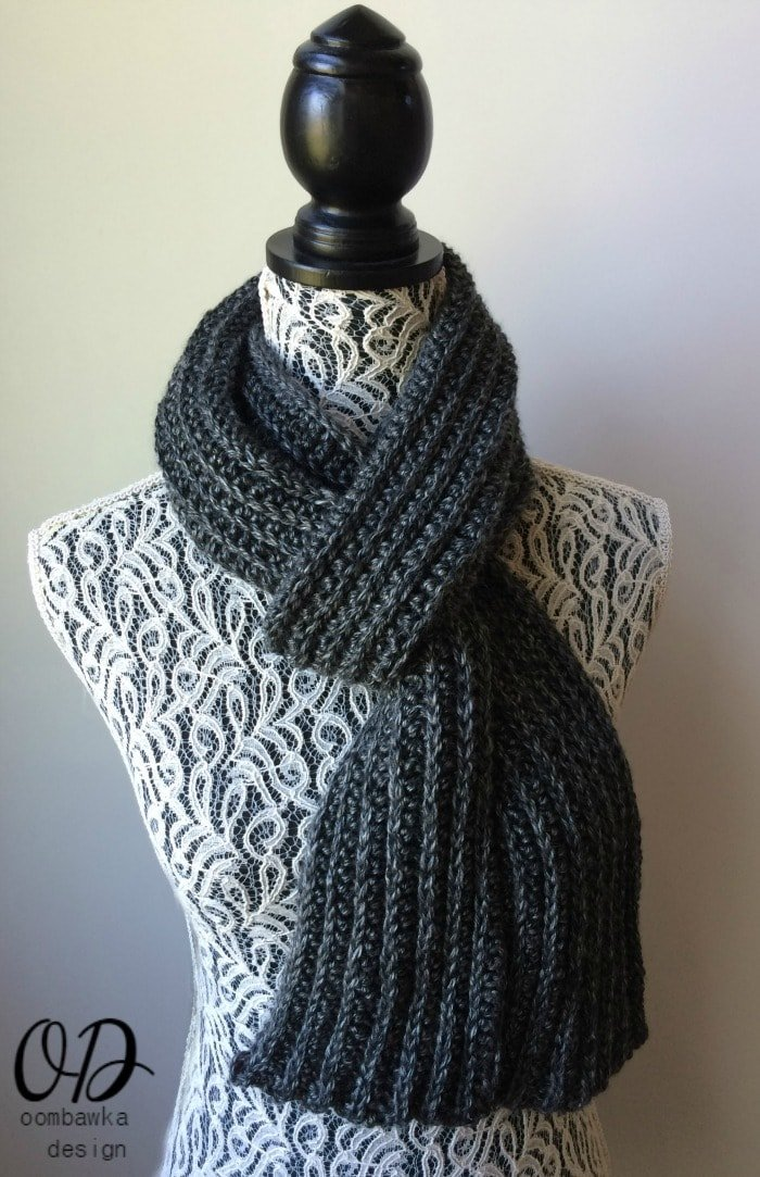 Just For Him - or her - Classic Ribbed Scarf Free Pattern oombawkadesigncrochet