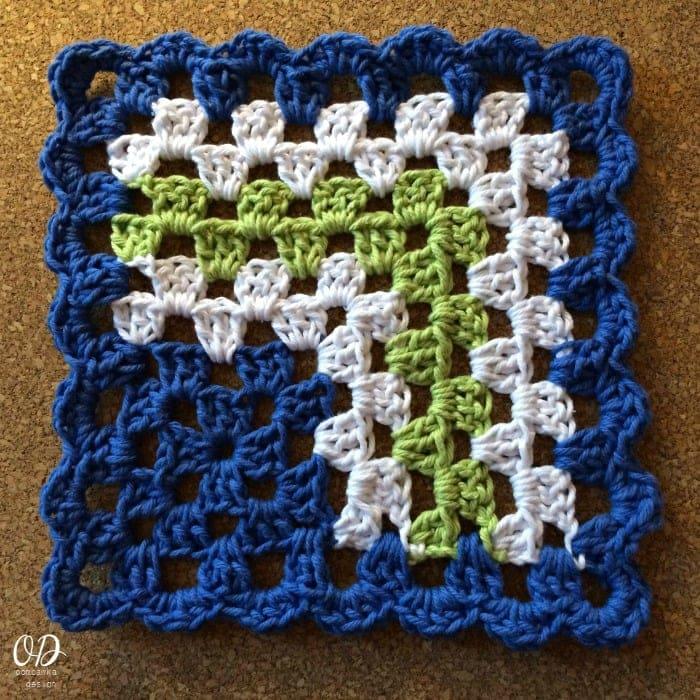 Mitered Granny Square Dishcloth 40 Oombawka Design Crochet