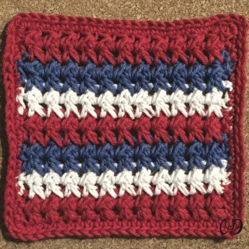 Red White and Blue Dishcloth Pattern Oombawka Design Crochet