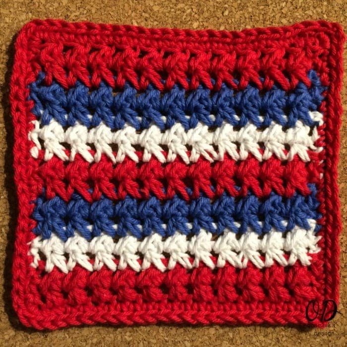 Red White and Blue Dishcloth Complete