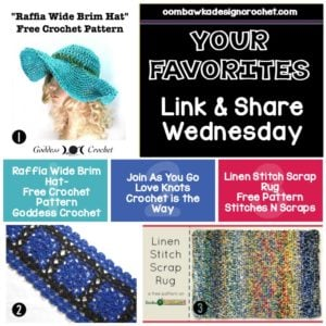 Your Favorites Link and Share Wednesday Wide Brim Hat - JAYGO Love Knots - Linen Stitch Scrap Rug all Free Patterns