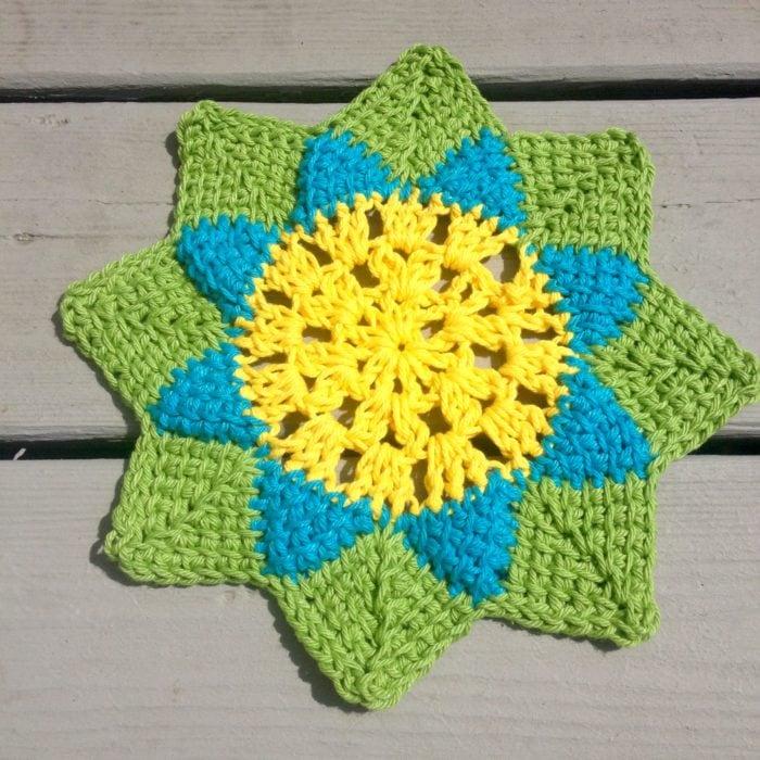 Free Crochet Patterns Flower Dishcloths : Spring Flower Dishcloth - Free Tunisian Crochet Pattern ...
