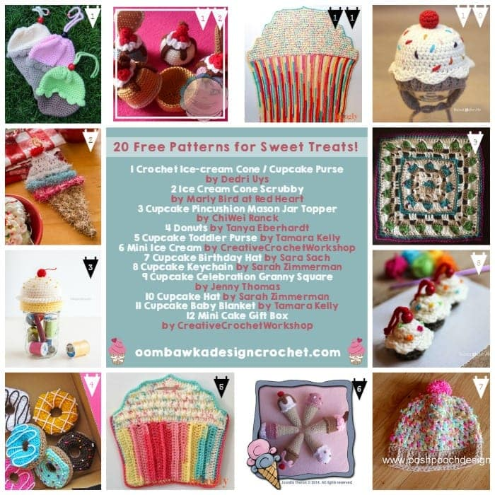 20 Free Patterns for Sweet Treats - Oombawka Design Crochet