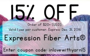 15% OFF COUPON EXPRESSION FIBER ARTS 1 TIME USE EXPIRES DEC 31 2016