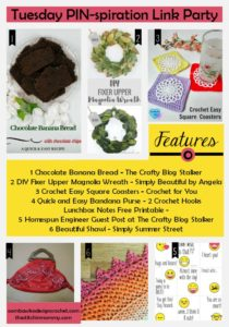 FEATURES BANDANA PURSE BEAUTIFUL SHAWL PRINTABLES CHOCOLATE BANANA BREAD DIY MAGNOLIA WREATH SQUARE COASTERS