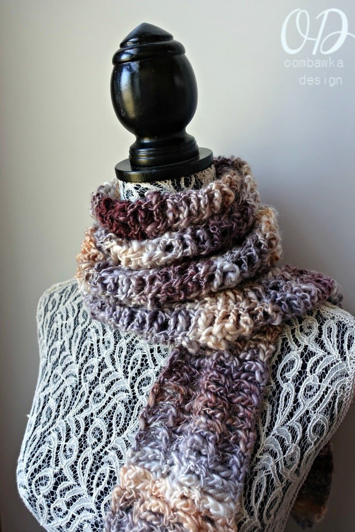 Scarf of the Month Club JULY Oombawka Design Serendipity Scarf - Beginner Level Crochet Pattern