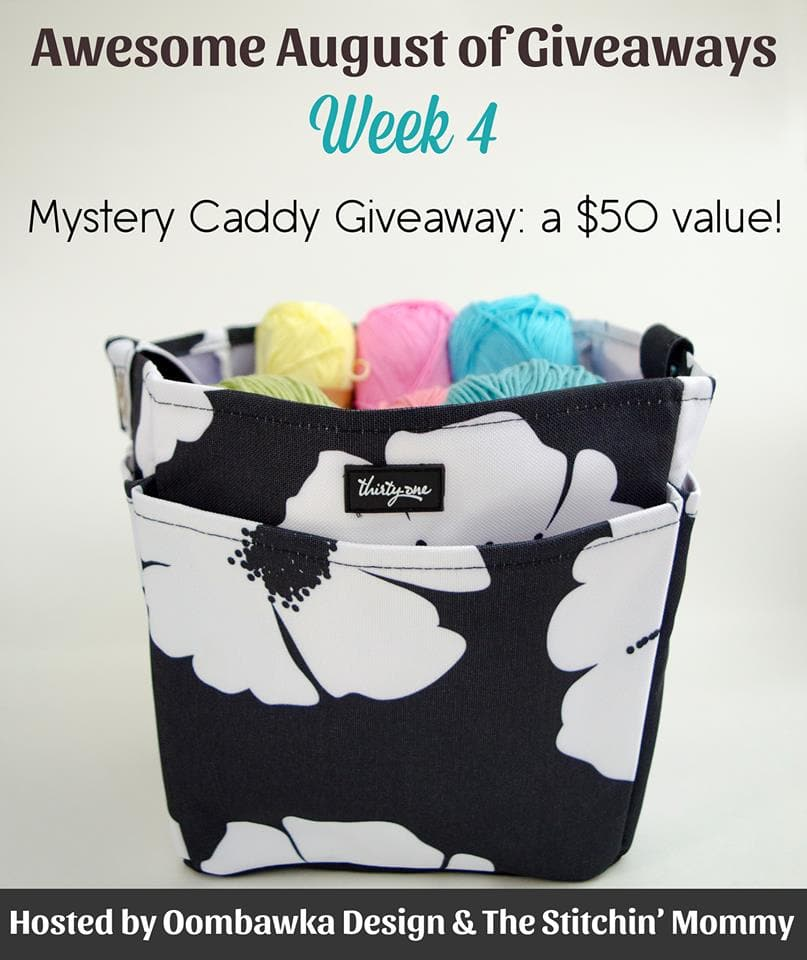 Mystery Caddy Giveaway! Filled with fantastic yarn and crochet hooks! Enter here: Giveaway is open worldwide where allowed by law. End date: August 28, 2016, 11:59pm ET.
