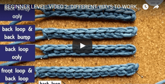 Learn to Crochet with Oombawka Design: Different Ways to Work Into the Starting Chain. Learn how to find and work into the back bump! Back loop and front loop. Tips and tricks are included :)