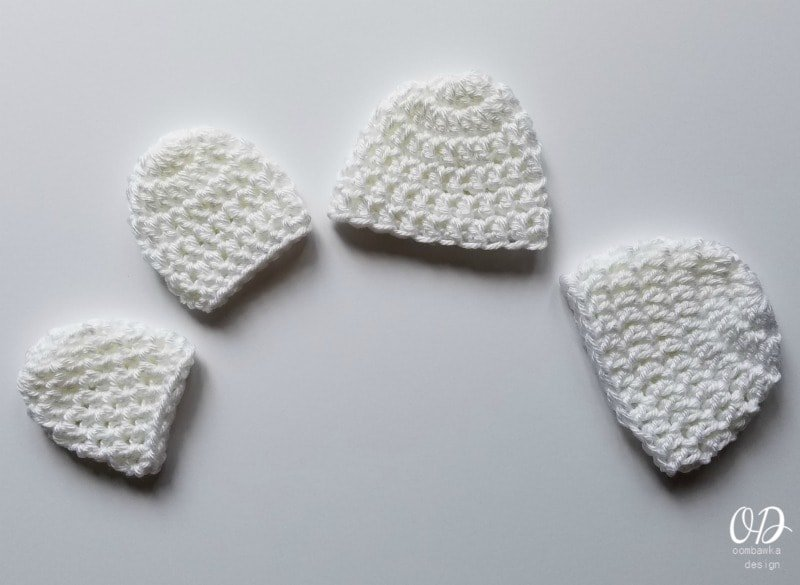 Micro Preemie Crochet Caps in White