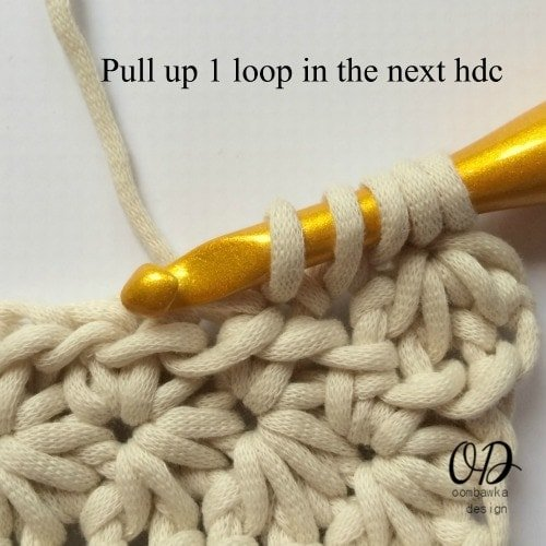 Star Stitch pull up 1 loop in the next hdc