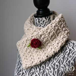 Starry Night Scarf with Rose Brooch