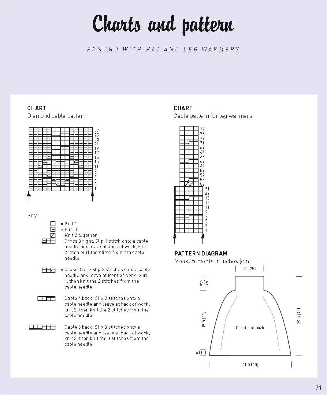 Chart and Diagram for Winter Warmers Poncho with Hat and Leg Warmers Excerpt Approved by DK Canada