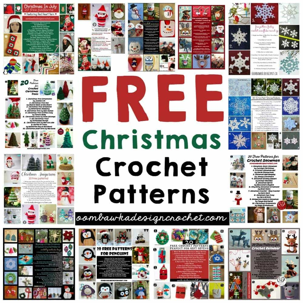 Stop searching and start crocheting! Free Christmas Crochet Patterns! Find Santa Claus, Reindeer, Snowmen, Stockings, Penguins, Snowflakes, Christmas Trees, Christmas Ornaments, Gift Bags, Bumble, Rudolph, Frosty, Poinsettias, Stars, Wreaths and Angels.