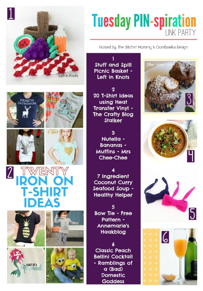 Tuesday PIN-spiration Link Party Picnic Basket Nutella Muffins Peach Bellini Recipes